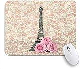 Minalo Gaming Mauspad rutschfeste Gummibasis, Einfachheit Filter festliche Eifel Turm Rosen alten Sommer Vintage Design Romantik Hochzeit süß, Für Computer Laptop Schreibtisch