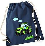 Stoffbeutel für Jungen   Motiv Traktor Bulldog mit Wolken & Gras   Schuhbeutel Sportbeutel zum Zuziehen für Kinder   Turnbeutel mit Kordel in blau grau grün (dunkelblau)