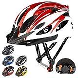 RaMokey Fahrradhelm für Erwachsene Herren Damen, EPS-Körper + PC-Schale, MTB Mountainbike Helm mit Abnehmbarem Visier und Polsterung, Verstellbar Radhelm 57-63cm (Rot + Weiß)
