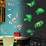 Pajaver Dino Wandtattoo Kinderzimmer Im Dunkeln Leuchten Wandaufkleber DIY Leuchtend Wandsticker für Baby Junge Schlafzimmer Kleinkinderzimmer Dekor - 9 Stück Dinosaurier