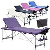 Beltom Mobile Massagetisch Massageliege Massagebank 3 zonen klappbar Aluminium + Tasche - Lila