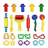 WonderforU Knetwerkzeug Teig Plastilin Werkzeuge, Knete zubehör Ausstechformen Küchenspielzeug, 23 Stück