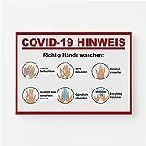 Warnhinweis Aufkleber Richtig Hände waschen Sauber Hygiene Corona Digitaldruck Folie DIN A4