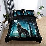 135x200cm 2 Teilig 3D Tier Wald Wolf Blaues Grau Bettwäsche Set mit Reißverschluss, Cat Mond Winter Herbst Bettbezug Set Mann 1 Person (Wolf)