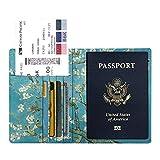 Fintie Reisepass Schutzhülle - Premium Kunstleder Reisepasshülle Halter mit RFID Blockier für Kreditkarten, Ausweis und Reisedokumente, Mandelblüten