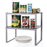 HAITRAL Regaleinsatz Für Küchenschrank   Küchenregal Organizer - Stapelbar Erweiterbares Lagerregal Für Küchenzubehör, Geschirr, Konservendosen, Gewürze - Silber