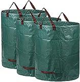 AIXMEET 3er Set Gartensack, 300L Gartenabfallsack aus robustem Wasserdichtes Polypropylen-Gewebe PP - selbststehend und faltbar - Abfallsäcke für Gartenabfälle Laub Rasen Pflanz Grünschnitt