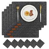 Famibay Tischsets und Untersetzer Absorbierend Abwaschbar Filz Platzsets 6er Set Filzuntersetzer Platzdeckchen Dunkelgrau Tischmatte für Holztisch(Tiefgrau)