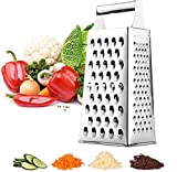 Reibe, Edelstahl 4-seitige Reiben Küchenreibe Hochwertige Vierkantreibe ideal als Kartoffelreibe für Obst, Gemüse, Käse, Karotten, Vierkantreibe