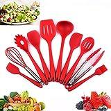 Silikon Küchenhelfer, Silikon-Küchengeräte 10 Stück, Antihaft Hitzebeständiger Silikonspatel Set, Antihaft-Küchenbackwerkzeuge.(Rot)