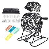 Duokon Bingo Spiel Senioren, Bingo Spiel Set mit Bingo Käfig Bingo Brett Bingo Bälle Bingokarten und Bingo Chips