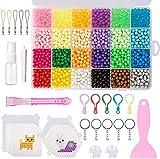 QIXINHANG Bastelperlen Wasser Magische Bastelset Splash Perlen Set Wasserperlen Beads Kinder DIY mit Zubehör in Organizerbox (5 mm, 24 Farben, 3500 STK.) (Mehrweg)