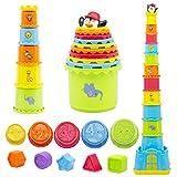 MOONTOY Stapelbecher Baby, Stapelturm Baby,Stapelwürfel ab 12 + Monate kinderspielzeug,Montessori Spielzeug ab 1-6 Jahr, Badewannen und Sandspielzeug für drinnen, draußen, Lernspielzeug Geschenk