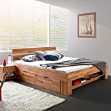 Eternity-Moebel24 Futonbett Schlafzimmerbett Massivholzbett Kernbuche massiv inkl. Bettkästen u. Fußteil in 2 Größen (140 x 200 cm)