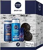 NIVEA MEN Sport Geschenkset, Geschenk für Männer mit Pflegedusche, Shampoo, Antitranspirant und Faszienball, Set für den gepflegten Mann
