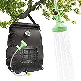 BODIY Solar-Duschtasche, Camping, 20 l, Solar-Bad-Tasche, Camping-Tasche, aus PVC, tragbar, mit abnehmbarem Schlauch und Duschkopf für Wandern, Camping, Wandern, Reisen (schwarz)