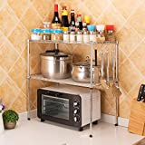 LC&TEAM Küchenregal Mikrowellenregal Mikrowellenhalter Gewürzregal Standregal Arbeitsplatten Küchenablage 2 Ebenen Metallregal verstellbar Küchen Organizer mit 4 Haken Lagerregal