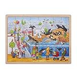 Goki 57744 Einlegepuzzle 'Ausflug in den Zoo' aus Holz, 48-teilig