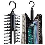 2PCS Cross X Hangers,Alohha Black Tie Belt Rack Organiser Hanger Non-Slip Clips Holder with 360 Degree Rotation,Securely up to 20 Ties