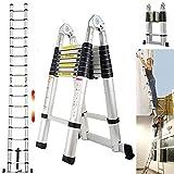 Teleskopleiter 5m mit Stabilisatorstange Aluleiter Klappleiter EN131-zertifizierte Klapp - und Anlegeleiter 16 Sprossen - 93cm bis 5m Anlegeleiter, 150 kg Belastbarkeit (2,5+2,5M)
