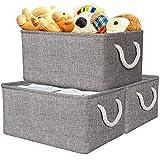 AivaToba Aufbewahrungskorb Faltbare Aufbewahrungsboxen Stoff mit Griff, Dickwandige Aufbewahrungsbehälter aus Leinen für Kleidung Spielzeug Schlafzimmer Regal Schrank (3 Pack, Grau)