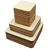 Meetory 42 Stück Unbehandelte Holz-Quadrate, 3 Größen Holzstücke zum Basteln Holzbrett Basteln für DIY Handwerk, Pyrographie Kunst, Laser-Gravur, Schnitzen, Malen, Holzbrennung (10 cm, 8 cm, 5 cm)