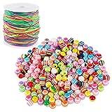 Aoligei 300 Stück Bunte Perlen mit 50m Farbiger Elastisch Schnur, Regenbogen Perlenschnur Perlen zum Auffädeln Bastelperlen für DIY Armbänder Schmuck Haarband Halsketten Geschenk Kinder Mädchen
