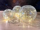 CPROSP 3er Glaskugeln Licht mit Crackle Glas, LED Kugel Batterienbetrieben für Innen, Durchmesser 8CM/10CM/12CM
