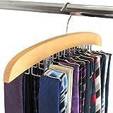 HANGERWORLD Hochwertiger Holz Krawattenhalter 24 Krawatten Holz Kleiderbügel