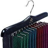 MATAYA Krawattenhalter - Krawattenbügel aus Holz - Premium Kleiderschrank Kleiderbügel Aufbewahrung für 24 Krawatten (Schwarz)