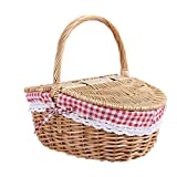 Gaetooely Wicker Picknick Korb im Land Haus Stil mit Deckel und Griff & Liner für Picknicks, Partys und Grill Abende