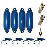 Majoni Komplettset 4er-Set Star 15 Fender Bootsfender mit 4 Fenderleinen, 2 Ersatzventilen und 1 Ventiladapter - blau 45 x 12 cm