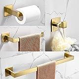 WOMAO Toilettenrollenhalter Gold Ohne Bohren Selbstklebend Garderobe Badezimmer Zubehör Set 4er Edelstahl Gebürstet Handtuchstange Handtuchhalter