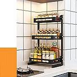 Gewürzregal, Edelstahl Gewürzregal, Küchenarbeitsplatte Organizer, robust und langlebig, maximieren Küchenraum, einfach zu montieren (3 Etagen)
