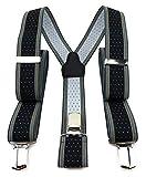 TigerTie Unisex Hosenträger in Y-Form mit 3 extra starken Clips - Farbe in schwarz anthrazit gold silber gepunktet gestreift - hochwertige Verarbeitung - Breite 35 mm