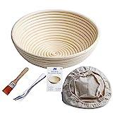 Gärkörbchen rund, ø 25 cm, Höhe 8.5 cm Banneton Proof Korb für Brot und Teig [inkl. Pinsel] Proof Rising Rattan Schale(1000g Teig) + Gratis Liner + Brot Gabel