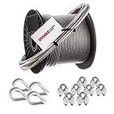 Seilwerk STANKE Rankhilfe PVC Drahtseil ummantelt verzinkt 50m Stahlseil 4mm 6x7, 4x Kausche, 8x Bügelformklemme - SET 2