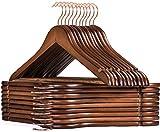 HOUSE DAY 32 Stück Kleiderbügel aus Holz Kleiderbügel Roségoldener drehbarer Haken -Kleiderbügel Natürliche Glatte Oberfläche Premium Holz Kleiderbügel für Kleidung Anzug (44 cm - Walnuss)