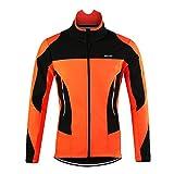 d.Stil Herren Fahrradjacke Langarm Fleece Winddicht MTB Jacke S - 2XL (Orange, 2XL (Körpergröße: 185-190 cm Gewicht: 80-90 kg))