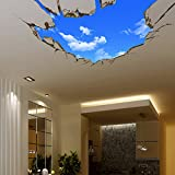 AUVS 3D- Selbstklebende Abnehmbaren Durchbrechen Die Mauer Vinyl Wandsticker/Wandgemälde Kunst Aufkleber Dekorateur (Der Blaue Himmel Large (70cm x 90cm))