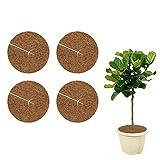 Halcyerdu 4 Stück 20 cm Durchmesser Kokosmatte, Mehrfach verwendbar Kokos Mulchscheibe, Kübelabdeckung Winterschutz für Topfpflanzen