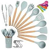 CORAFEI Kochbesteck 12er Küchenutensilien silikon, Antihaftes Hitzebeständiges Küchenhelfer Set mit Holzgriff, Aufbewahrungsbehälter, Messlöffel Set, 10 S-Haken