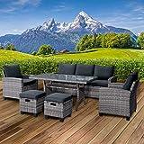 BRAST Poly-Rattan Sitzgarnitur Gartenmöbel Essgruppe Lounge Sitzgruppe Delight 7 Personen Grau/Anthrazit