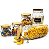 DOMUM Vorratsgläser Set 5-teilig | für die luftdichte & aromatische Aufbewahrung Ihrer Lebensmittel | eckige Glasbehälter mit Bügelverschluss und Bambus-Deckel | für Müsli oder Mehl