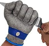 OKAWADACH Schnittfeste Handschuhe Küche, Level 5 Schutz Kettenhandschuh Metzger Handschuhe schnittsichere Arbeitshandschuhe Schnittschutzhandschuhe für die Küche, Holzschnitzen und Garten (L)