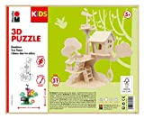 Marabu 317000000011 - KiDS 3D Holzpuzzle Baumhaus, mit 37 Puzzleteilen aus FSC-zertifiziertem Holz, ca. 28 x 26 cm groß, einfache Stecktechnik, zum individuellen Bemalen und Gestalten