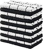 Utopia Towels - 12er Pack Geschirrtücher Küchentücher, 38 x 64 cm Baumwolle Geschirrtüch – Maschinenwaschbar (Schwarz und Weiß)