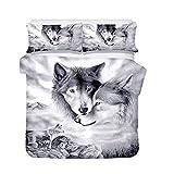 Loussiesd Wolf 3D Print Betten Set Kinder 135x200 cm + 80x80 cm Weiß & Schwarz Tier Bettwäsche Set Microfaser Himmlische Qualität Bettbezug mit 1 Kissenbezug 2 teilig Jungen Mädchen