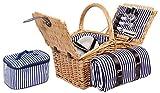 Sell-tex 4 P. Weiden Picknickkorb Picknickkoffer Besteck, Teller (Braun)