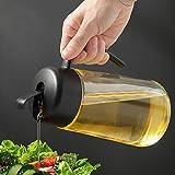 Auto Flip Ölspender Flasche Olivenöl Spenderflasche mit automatischem Deckel, tropffreier & auslauffreier Auslauf, rutschfester Griff für Küche Kochen (1 l)